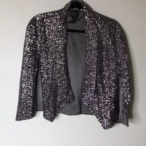 Forever 21 NWT Silver Sequined Blazer Cape